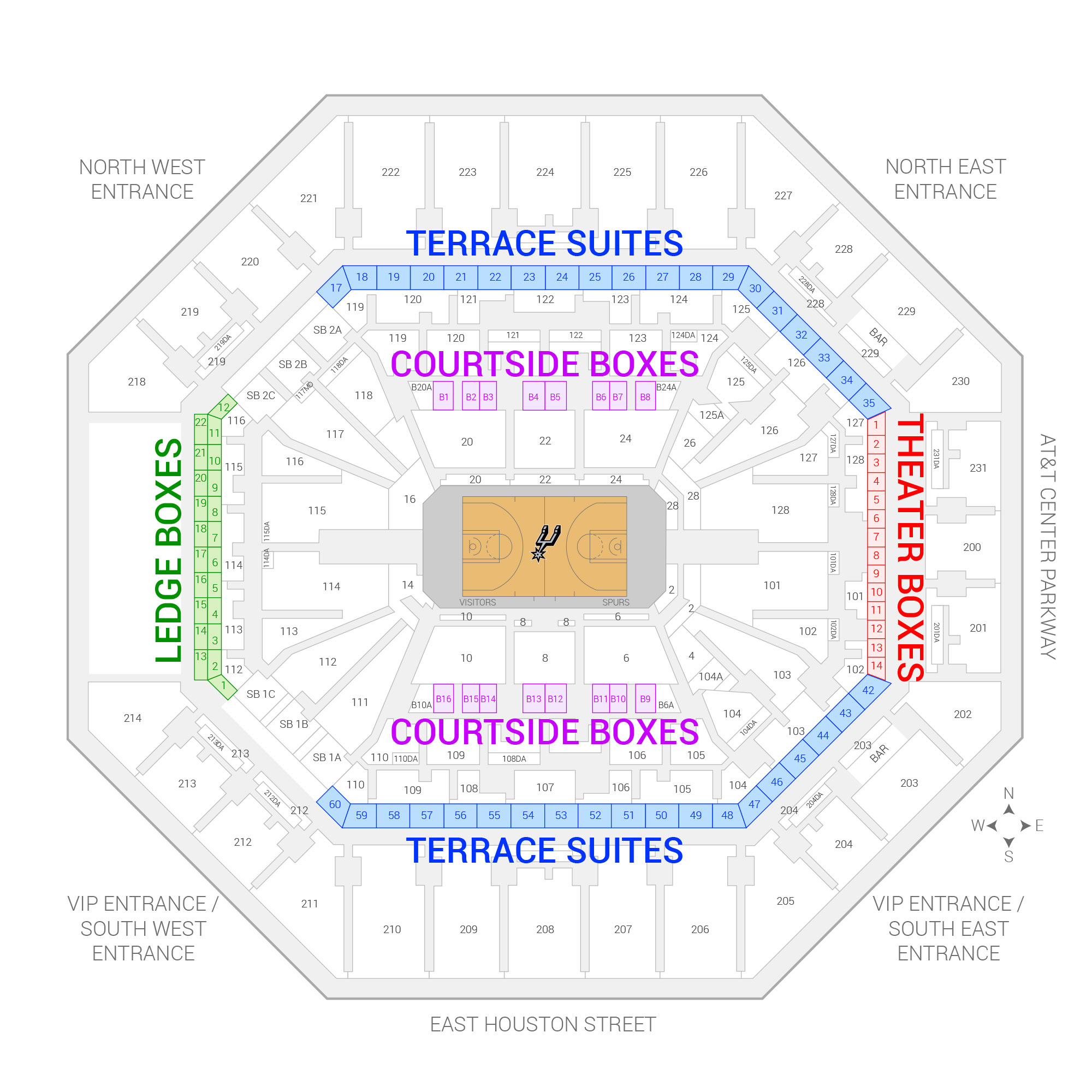 AT&T Center / San Antonio Spurs Suite Map and Seating Chart